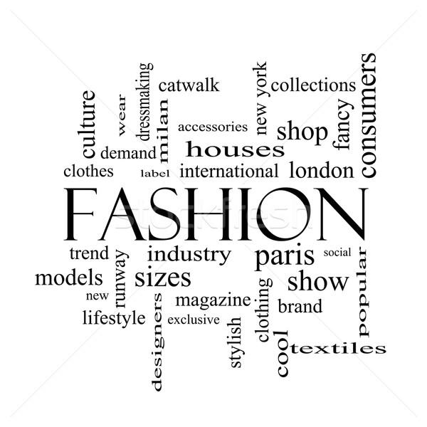 ファッション 言葉の雲 黒白 キャットウォーク モデル ストックフォト © mybaitshop