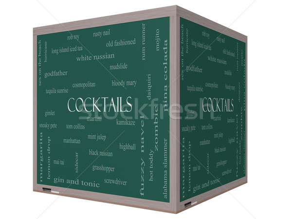 Cocktails Word Cloud Concept on a 3D cube Blackboard Stock photo © mybaitshop