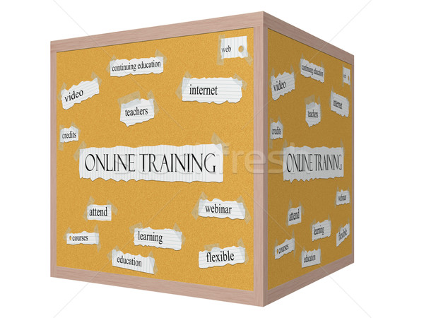 Online Training 3D cube Corkboard Word Concept Stock photo © mybaitshop
