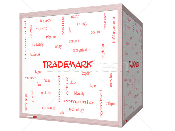 Trademark Word Cloud Concept on a 3D cube Whiteboard Stock photo © mybaitshop