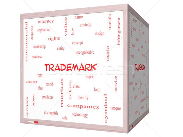 Védjegy szófelhő 3D kocka tábla nagyszerű Stock fotó © mybaitshop