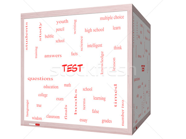 Test Word Cloud Concept on a 3D cube Whiteboard Stock photo © mybaitshop