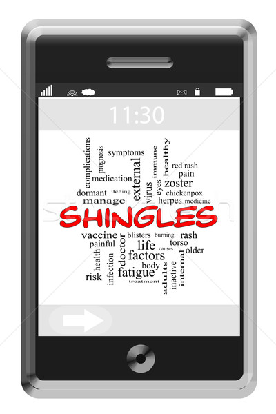 Shingles Word Cloud Concept on a Touchscreen Phone Stock photo © mybaitshop
