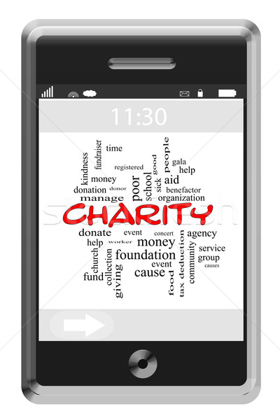Charity Word Cloud Concept on a Touchscreen Phone Stock photo © mybaitshop