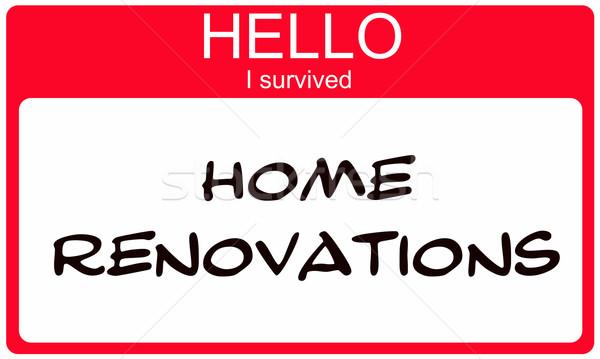 Hello I Suvived Home Renovations red Name Tag Stock photo © mybaitshop