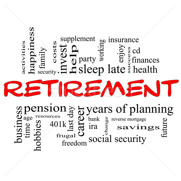 Retirement Word Cloud Concept in red & black Stock photo © mybaitshop