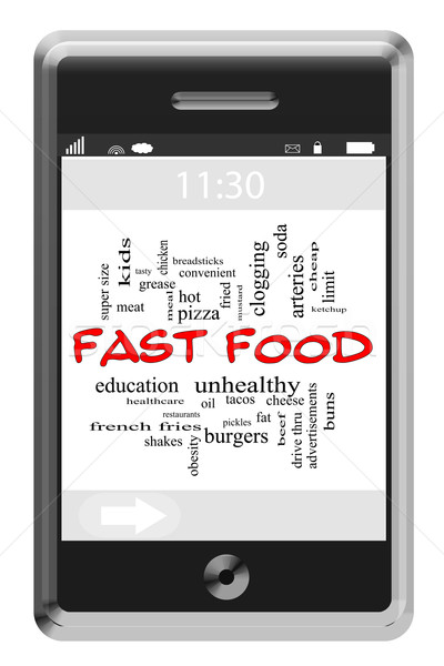 Fast Food Word Cloud Concept on Touchscreen Phone Stock photo © mybaitshop