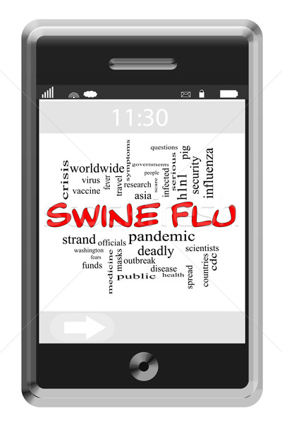 Swine Flu Word Cloud Concept on Touchscreen Phone Stock photo © mybaitshop