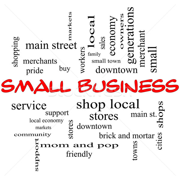 Small Business Word Cloud Concept in Red Caps Stock photo © mybaitshop