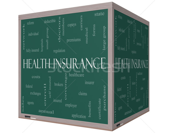 Health Insurance Word Cloud Concept on a 3D cube Blackboard Stock photo © mybaitshop