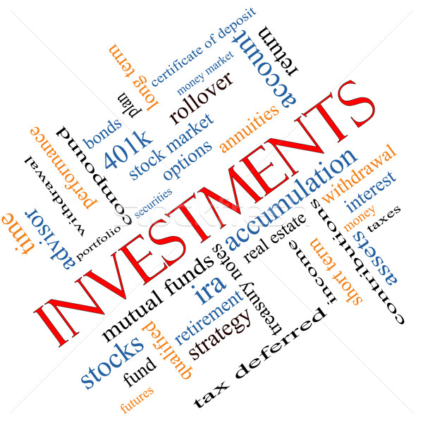 Investments Word Cloud Concept Angled Stock photo © mybaitshop