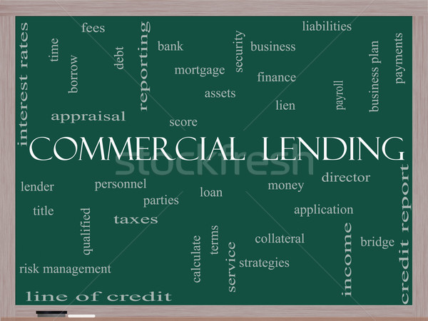 Commercial Lending Word Cloud Concept on a Blackboard Stock photo © mybaitshop