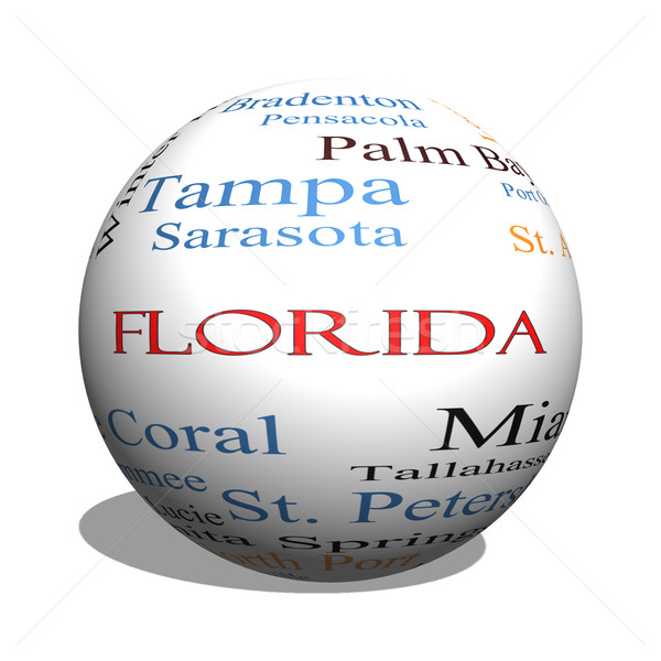 Florida State 3D sphere Word Cloud Concept Stock photo © mybaitshop
