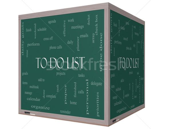 To Do List Word Cloud Concept on a 3D cube Blackboard Stock photo © mybaitshop