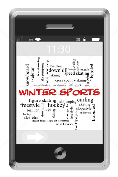 Winter Sports Word Cloud Concept on Touchscreen Phone Stock photo © mybaitshop
