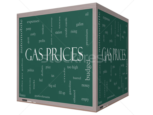 Stock fotó: Benzin · árak · szófelhő · 3D · kocka · iskolatábla