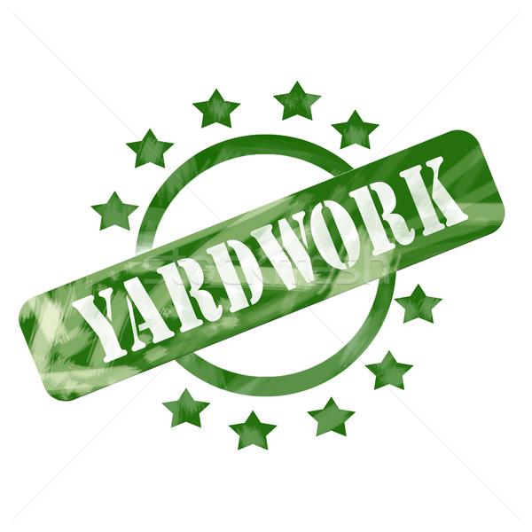 Green Weathered Yardwork Stamp Circle and Stars design Stock photo © mybaitshop
