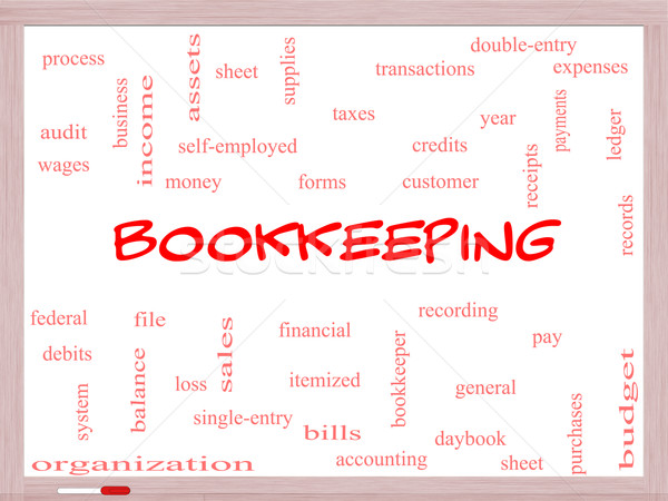 Bookkeeping Word Cloud Concept on a Whiteboard Stock photo © mybaitshop