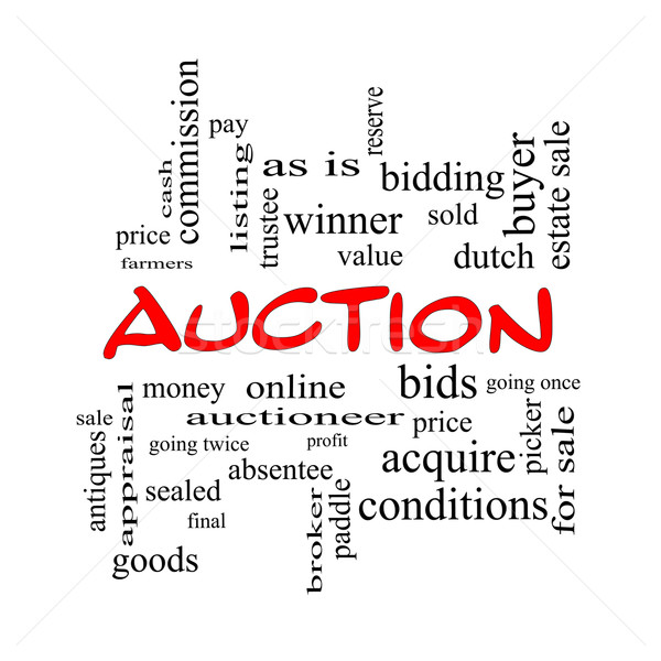 Auction Word Cloud Concept in red caps Stock photo © mybaitshop