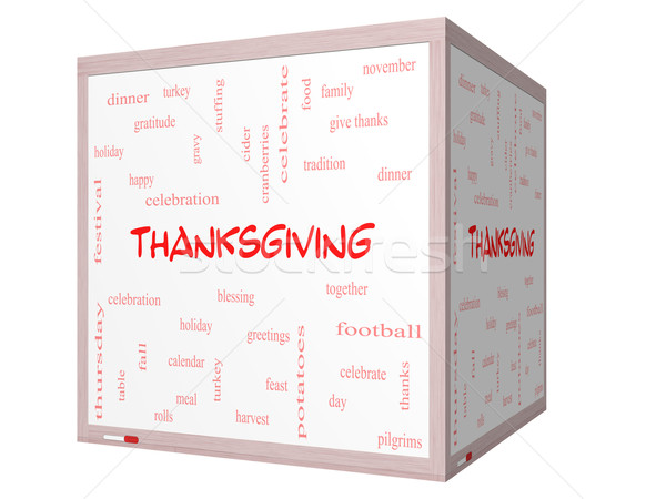 Thanksgiving Word Cloud Concept on a 3D cube Whiteboard Stock photo © mybaitshop