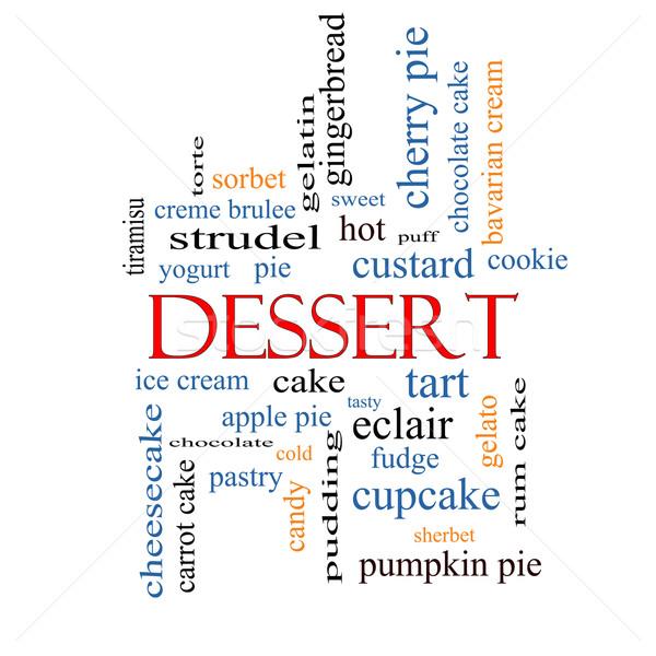 Stockfoto: Dessert · woordwolk · groot · zoete · cake · ijs
