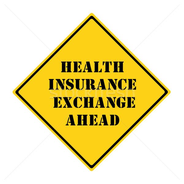 Seguro de saúde troca à frente assinar amarelo preto Foto stock © mybaitshop
