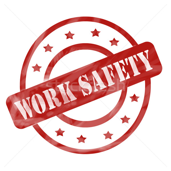 Rood verweerde werk veiligheid stempel cirkels Stockfoto © mybaitshop