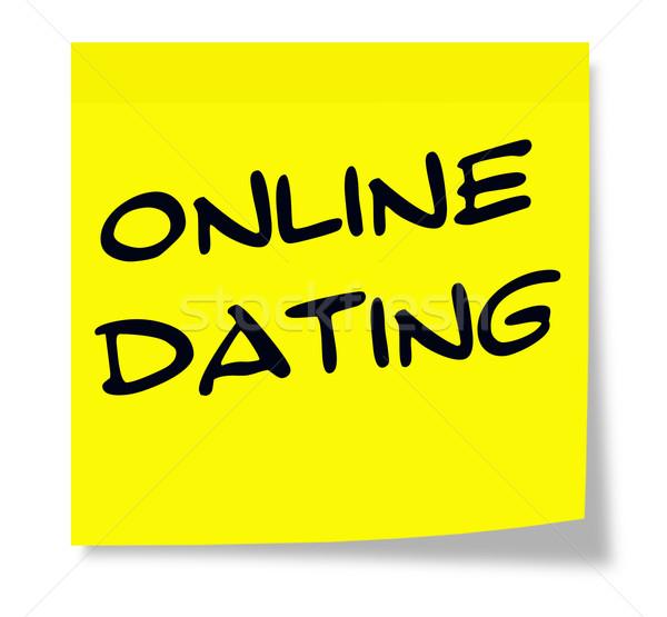 On-line namoro escrito amarelo nota pegajosa Foto stock © mybaitshop