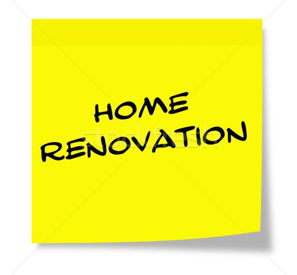 Otthon rendbehoz írott citromsárga öntapadó jegyzet készít Stock fotó © mybaitshop