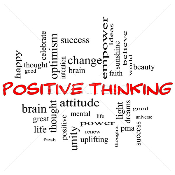 Positive Thinking Word Cloud Concept in Red Caps Stock photo © mybaitshop