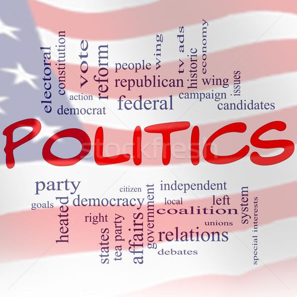 политику слово облако флаг красный белый синий Сток-фото © mybaitshop