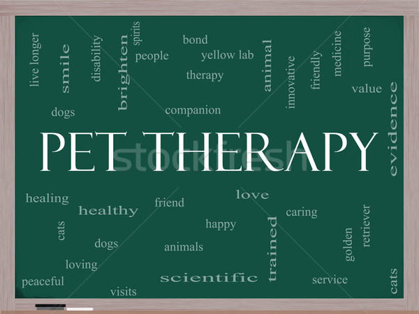 Pet Therapy Word Cloud Concept on a Blackboard Stock photo © mybaitshop