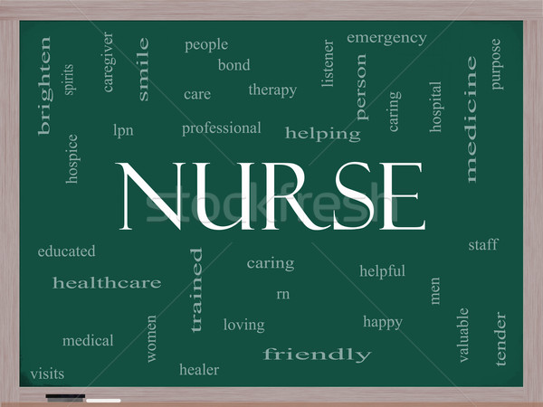 Nurse Word Cloud Concept on a Blackboard Stock photo © mybaitshop