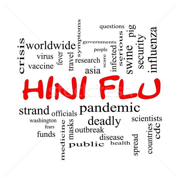 H1n1 грипп слово облако красный лихорадка Сток-фото © mybaitshop
