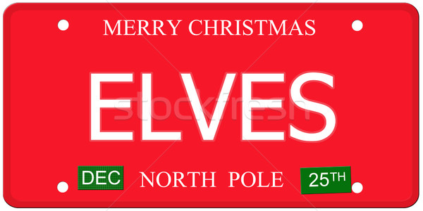 Elves North Pole License Plate Stock photo © mybaitshop