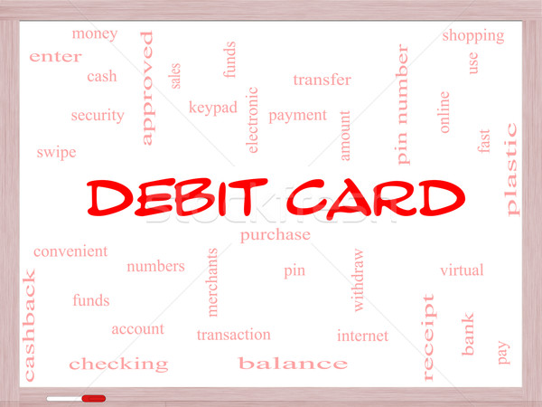 Debit Card Word Cloud Concept on a Whiteboard Stock photo © mybaitshop