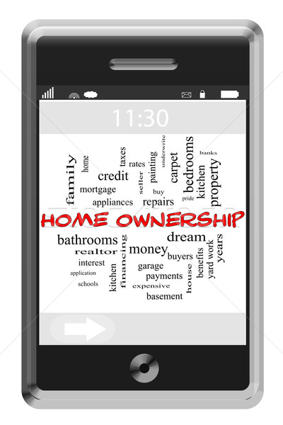 Home Ownership Word Cloud Concept on Touchscreen Phone Stock photo © mybaitshop