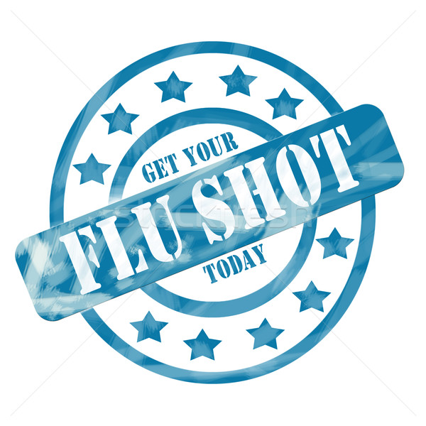 Blue Weathered Flu Shot Stamp Circles and Stars Stock photo © mybaitshop