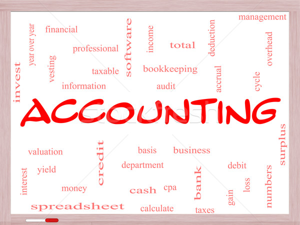 Accounting Word Cloud Concept on a Whiteboard Stock photo © mybaitshop