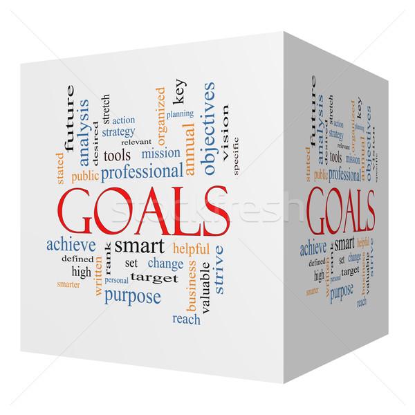 Goals 3D cube Word Cloud Concept Stock photo © mybaitshop