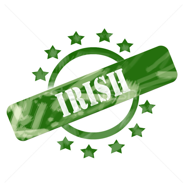Green Weathered Irish Stamp Circle and Stars Design Stock photo © mybaitshop