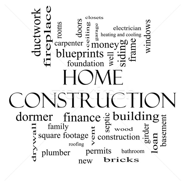 Home Construction Word Cloud Concept in black and white Stock photo © mybaitshop