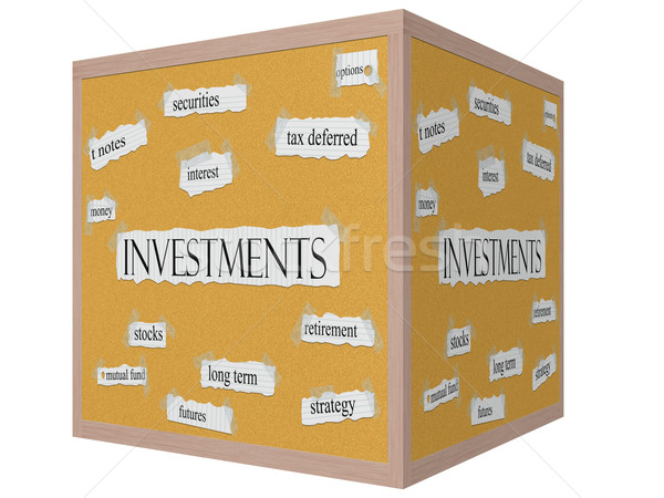Investments 3D cube Corkboard Word Concept Stock photo © mybaitshop