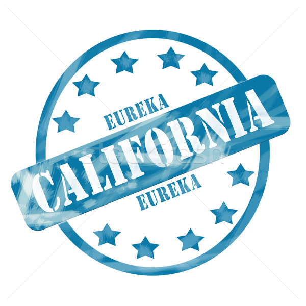 Blue Weathered California Stamp Circle and Stars Stock photo © mybaitshop