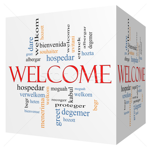 Welcome Foreign Language 3D cube Word Cloud Stock photo © mybaitshop