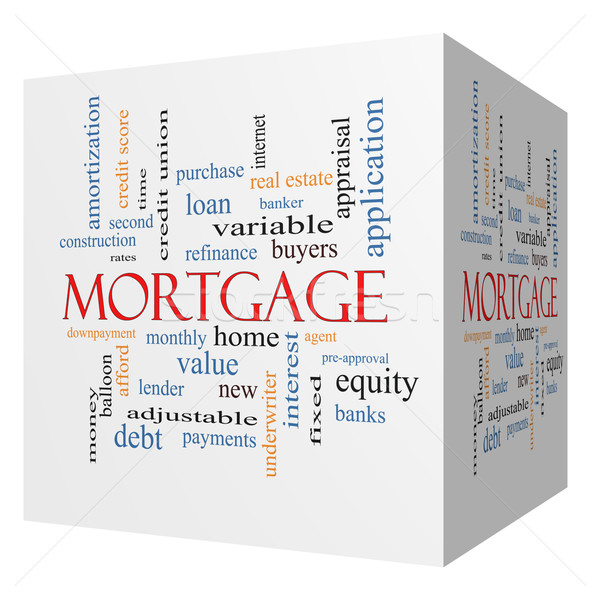Stock photo: Mortgage 3D cube Word Cloud Concept