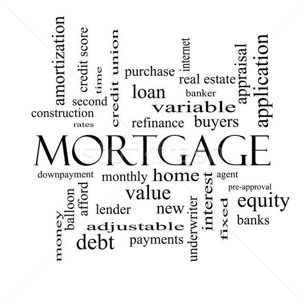 Mortgage Word Cloud Concept in black and white Stock photo © mybaitshop