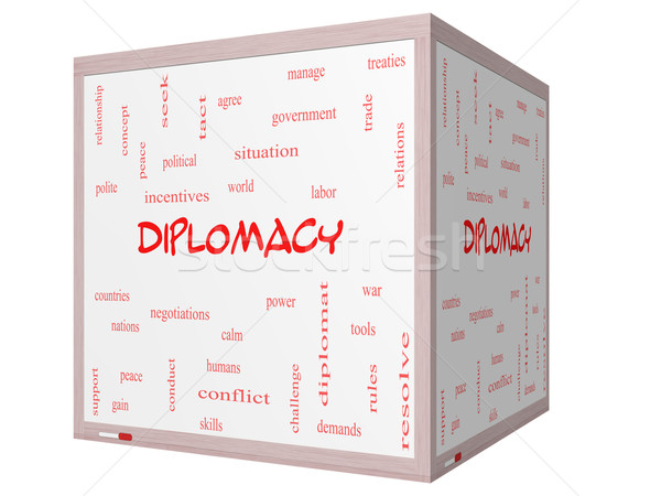 Diplomacy Word Cloud Concept on a 3D cube Whiteboard Stock photo © mybaitshop