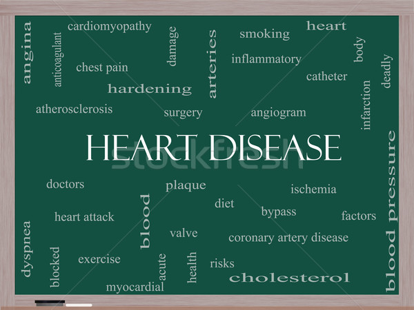 Heart Disease Word Cloud Concept on a Blackboard Stock photo © mybaitshop