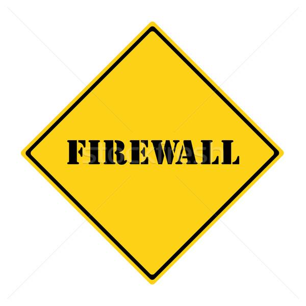 Firewall podpisania żółty czarny diament Zdjęcia stock © mybaitshop